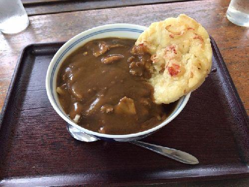くるり庵(TOKIOの長瀬君が食べたカレーうどんとトッピングはかき揚げ、かつ丼)亀山湖の紅葉狩りクルーズ